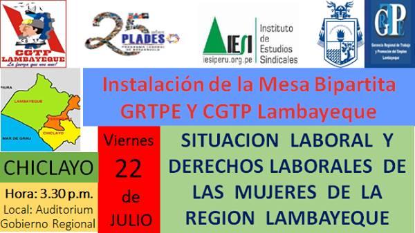 Instalación de la Mesa Bipartita GRTPE y CGTP Lambayeque