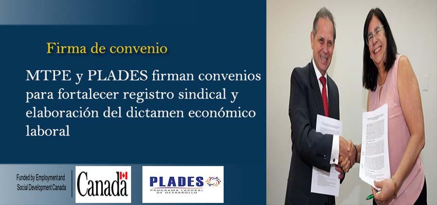 MTPE y PLADES Firman convenios