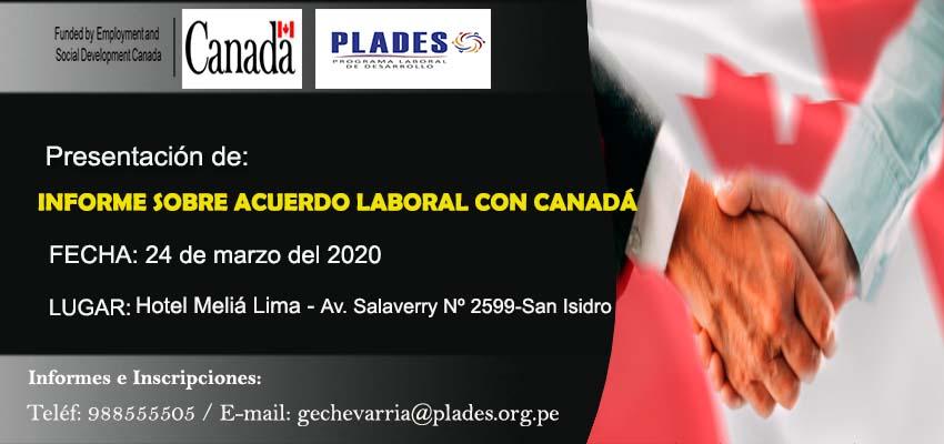 Presentación de informe sobre acuerdo laboral con Canadá
