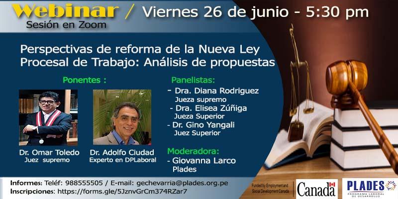 SEMINARIO Virtual: Perspectivas de reforma  de la Nueva Ley procesal de trabajo: Análisis de propuestas