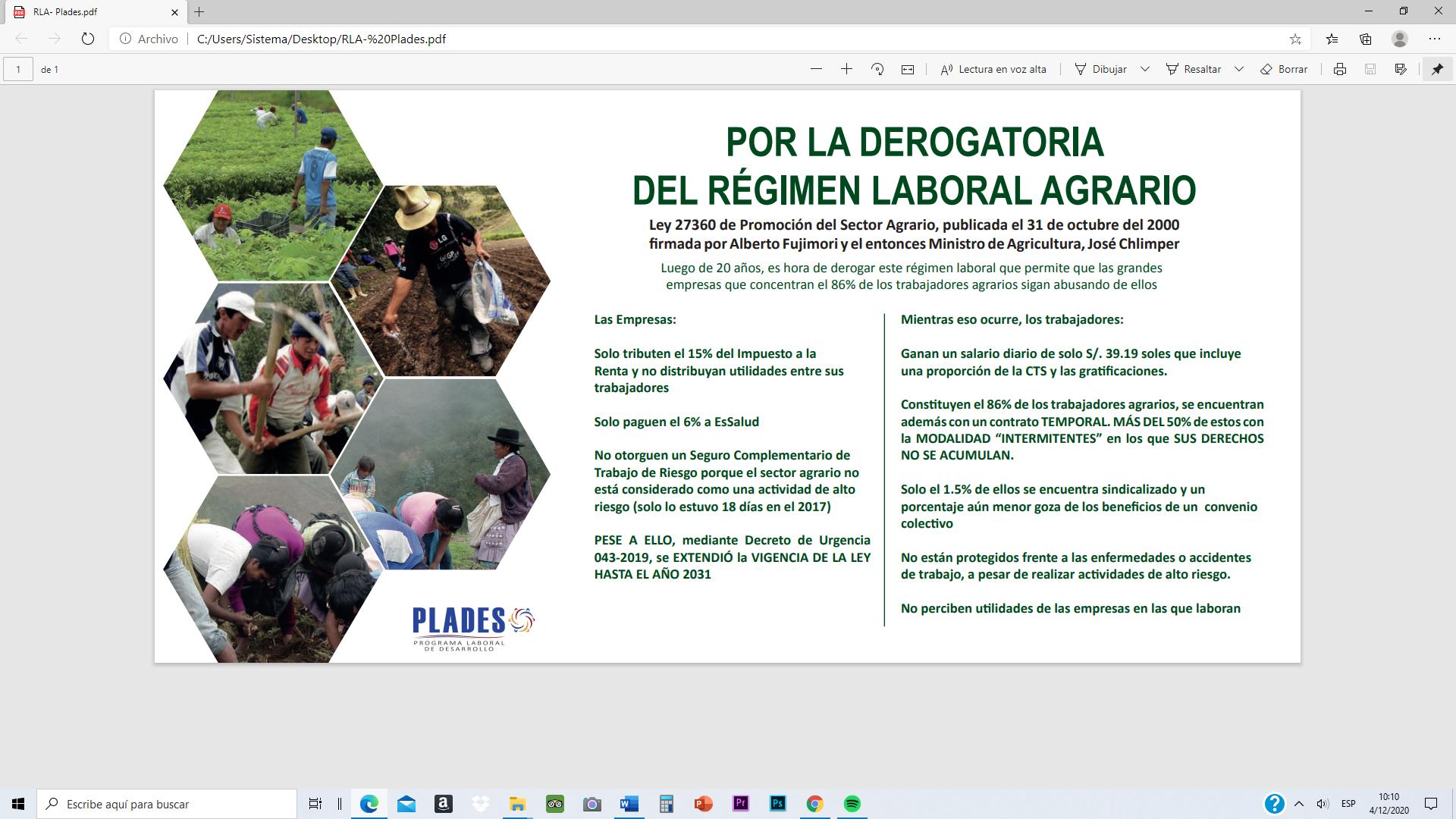 PLADES: Por la derogatoria del Régimen Laboral Agrario